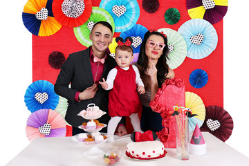 family celebrating the day of the birth