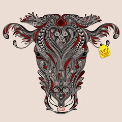Head of cow with abstract cuts. Love and protect animals