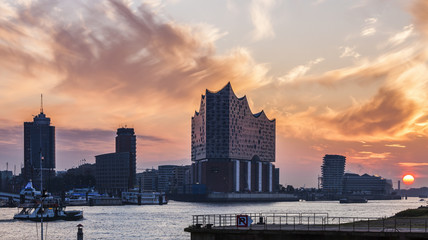 Hamburg architecture across the river at sunrise