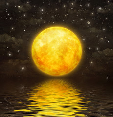 The full moon is reflected in  wavy water , illustration art