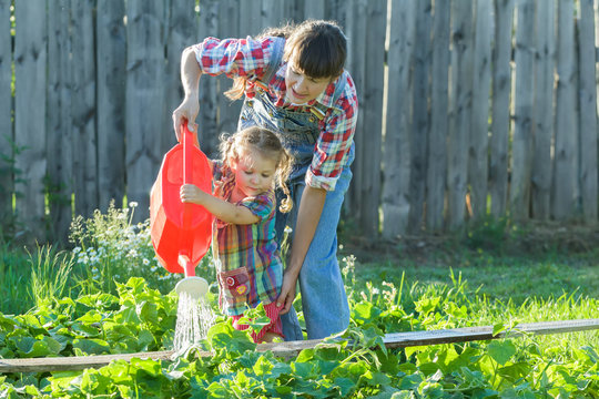Little gardener girl helping her mother to pour vegetable garden bed with green cucumbers
