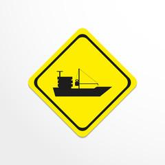 Cargo ship. Black vector icon