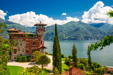 Lake Como, Italy, Europe. Villa was used for film scene in movie James Bond