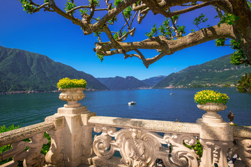 Beautiful view to lake Como from Villa Balbianello, Italy