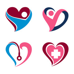 Spirit Heart Love Health Care Symbol Icon Set