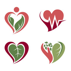 Nature Heart Love Health Care Symbol Icon Set
