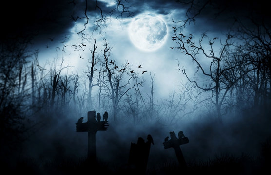 graveyard silhouette halloween  Abstract Background.
