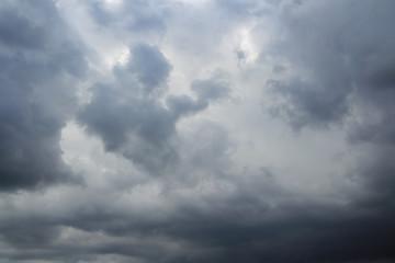 Thunderclouds over horizon, rain.