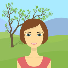 Cartoon beautiful young woman on a background of fields, tree and mountains.