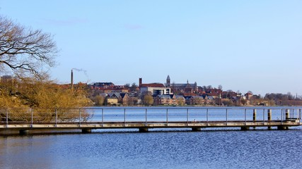 View of the city of Viborg, and Viborg Cathedral, seen from the lake; Soendersoe, (Søndersø) Jutland, Denmark