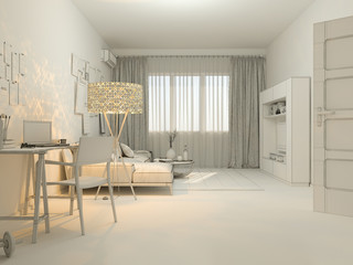 3D visualization of interior design living in a studio apartment