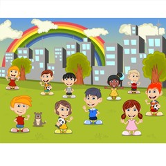 Little kids playing in the city park with rainbow cartoon