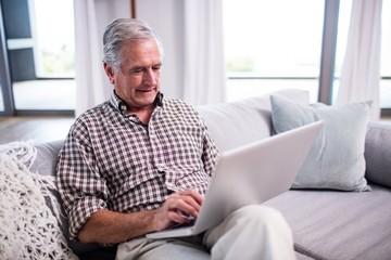 Senior man using laptop in living room
