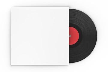 black vinyl record in paper case on white background