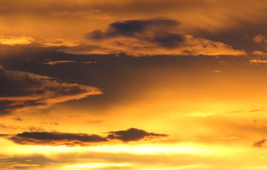 Natural background of the gold color sky and cloud, During the time sunrise and sunset