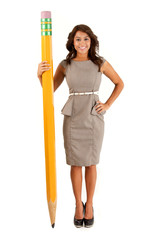 Pretty woman with a big pencil. Shot on a white background