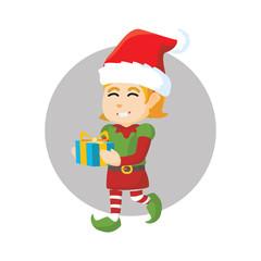 Girl christmas elf holding gift