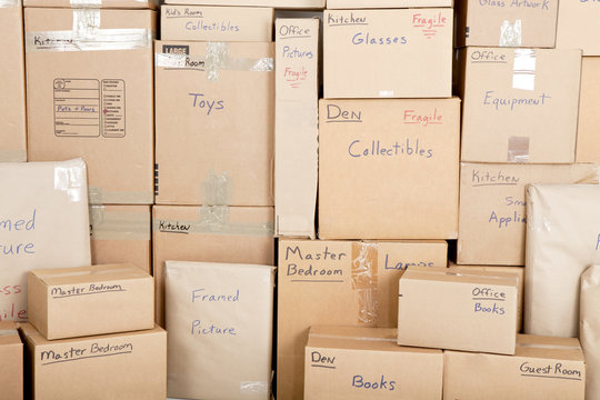 Wall with boxes labeled and ready for shipping