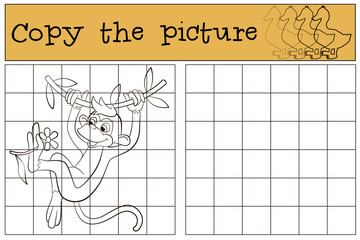 Children games: Copy the picture. Little cute monkey in the liana.