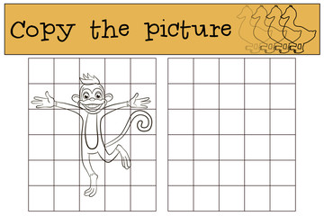 Children games: Copy the picture. Little cute monkey runs and smiles.