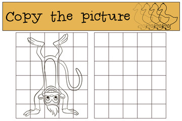 Children games: Copy the picture. Little cute monkey stands upside down.