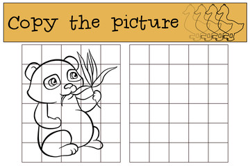 Children games: Copy the picture. Little cute panda eats leaves.