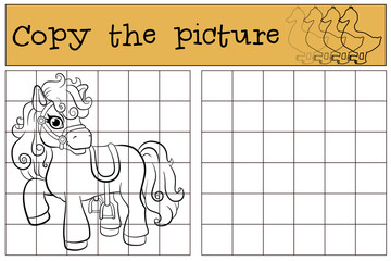 Children games: Copy the picture. Little cute pony stands and smiles.