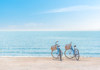 Aluminium Prints Bicycle Bike on the seaside,Two bicycle on the beach