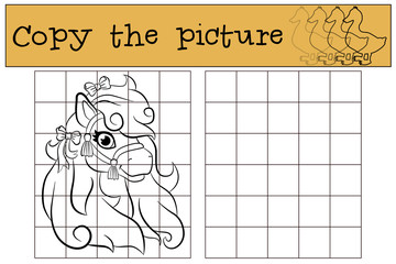 Children games: Copy the picture. Little cute pony with bows in her mane.