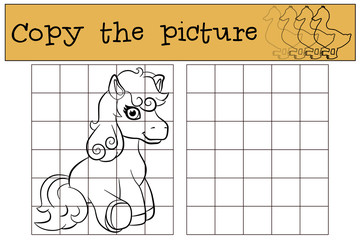 Children games: Copy the picture. Little cute pony sits and smiles.