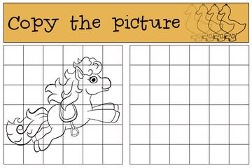Children games: Copy the picture. Little cute pony runs.