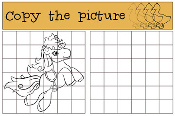 Children games: Copy the picture. Little cute pony jumps.