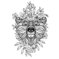 hand drawn ink doodle bear and flowers on white background. Coloring page - zendala, design for adults, poster, print, t-shirt, invitation, banners, flyers.