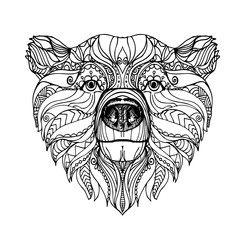 hand drawn ink doodle bear on white background. Coloring page - zendala, design for adults, poster, print, t-shirt, invitation, banners, flyers.