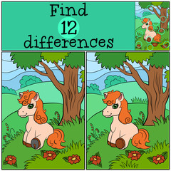 Children games: Find differences. Little cute pony sits in the forest near the tree.