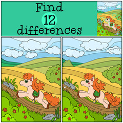 Children games: Find differences. Little cute pony runs and smiles.