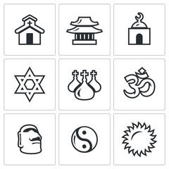 Vector Set of Religion Icons. Catholic, Buddhism, Islam, Judaism, Christianity, Hinduism, Idolatry, Taoism, Paganism.