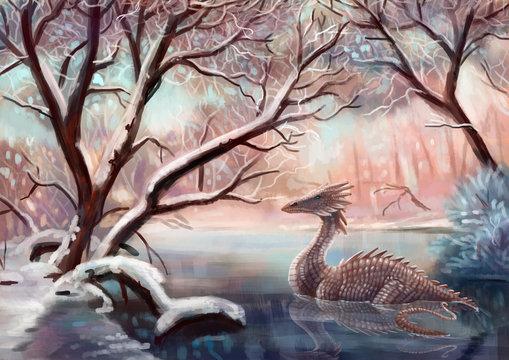 Дракон в зимнем лесу