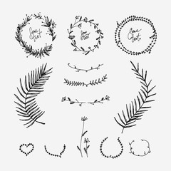 Set Of Frames And Wreaths Tree Motifs It Can Be Used For Decoration