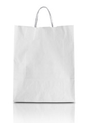 Blank white paper bag isolated