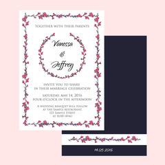 wedding invitation cards decorated with hand drawn flowers
