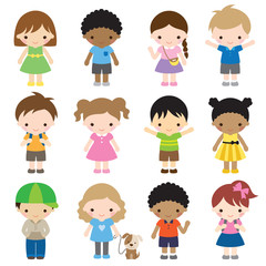 Vector illustration of kid characters in different clothes and poses.