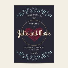 vintage wedding floral invitation card