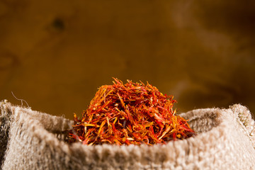 Spices saffron in a bag