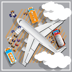 Preparation of aircraft for flight. View from above. Vector illustration.