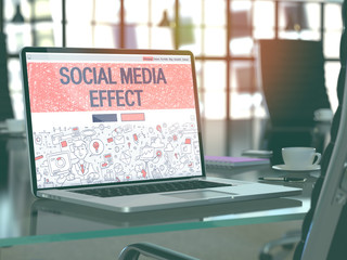Social Media Effect Concept Closeup on Landing Page of Laptop Screen in Modern Office Workplace. Toned Image with Selective Focus. 3D Render.