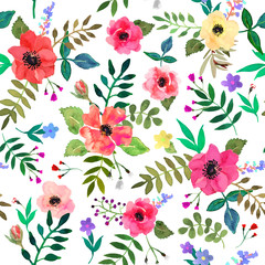 Seamless floral  background. Isolated colorful red flowers and leafs drawn watercolor.