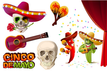 Set Cinco de Mayo. Mexican skull in sombrero holding rose teeth. Lettering text for greeting card
