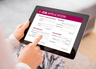 Job application form on tablet computer