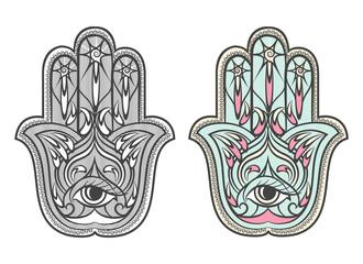Hamsa, Fatima hand amulet vector symbol set